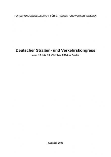 Deutscher Straßen- und Verkehrskongress Berlin 2004