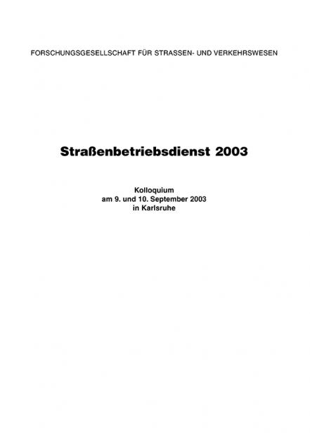 Straßenbetriebsdienst 2003