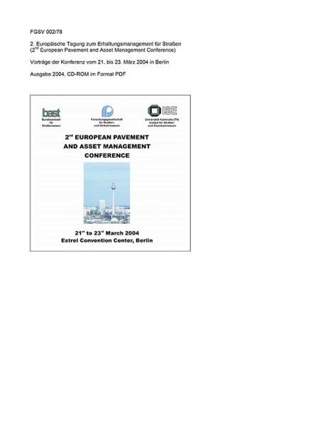 2. Europäische Tagung zum Erhaltungsmanagement für Straßen