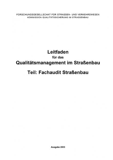 Leitfaden Qualitätsmanagement  Teil: Fachaudit