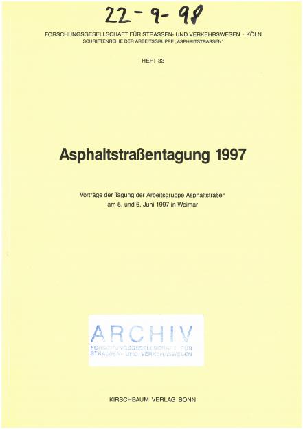 Asphaltstraßentagung 1997