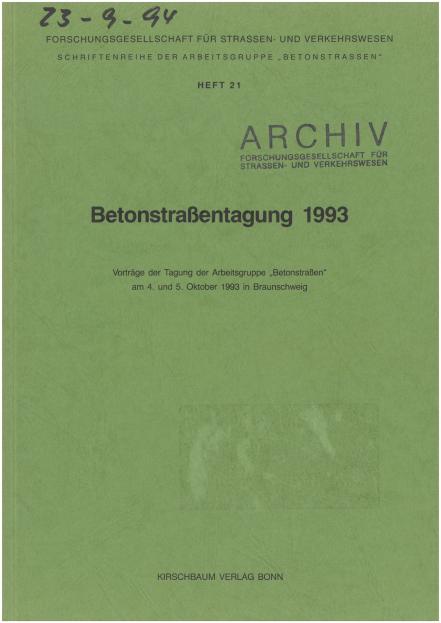 Betonstraßentagung 1993