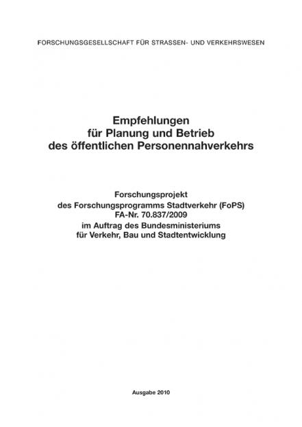 Empfehlungen für Planung und Betrieb des öffentlichen Personennahverkehrs