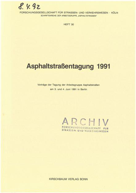 Asphaltstraßentagung 1991