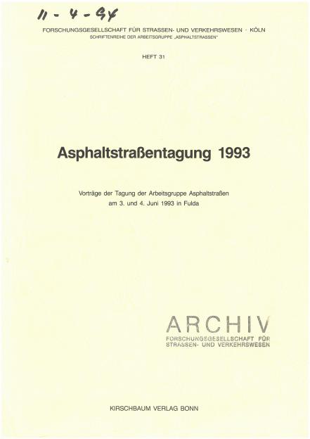 Asphaltstraßentagung 1993