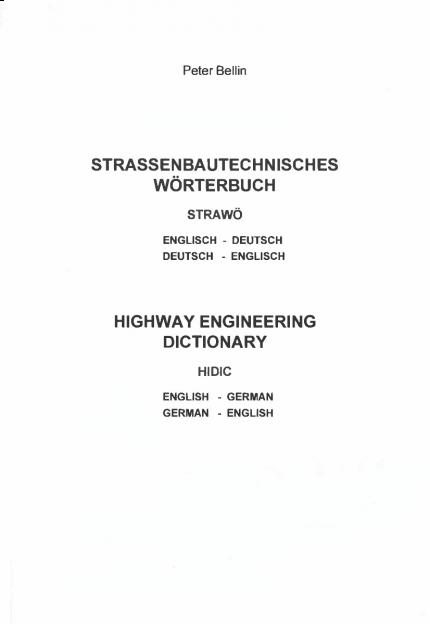 Bellin: Straßenbautechnisches Wörterbuch (STRAWÖ)