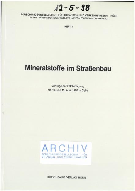 Mineralstoffe im Straßenbau 1997